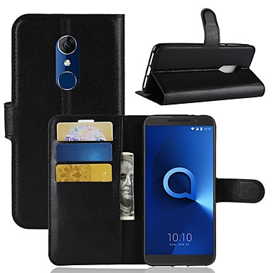 cheap Other Cases-Case For Alcatel Alcatel 5044r / Alcatel 3 / Alcatel 3C Wallet / Card Holder / Flip Full Body Cases Solid Colored Hard PU Leather