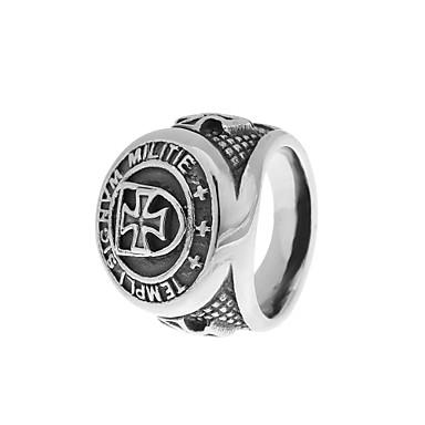 Muškarci Band Ring Pečatni prsten 1pc Zlato Srebro Titanium Steel Circle Shape Rustic / Lodge Jednostavan Casual / sportski Halloween Dar Jewelry Vintage Style Graviranog Prsteni srednje škole