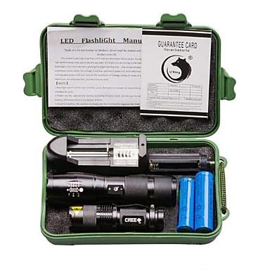 olcso Elemlámpák-U'King LED zseblámpák 2000 lm LED Sugárzók 3 5 világítás mód akkukkal és töltővel Nagyítható Állítható fókusz Kempingezés / Túrázás / Barlangászat Kerékpározás Halászat 2db Fekete / Alumínium ötvözet