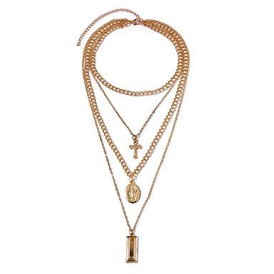 Žene slojeviti Ogrlice Duga ogrlica Više slojeva Kereszt dame Etnikai Moda Legura Zlato 41+5 cm Ogrlice Jewelry 1pc Za Dnevno Festival