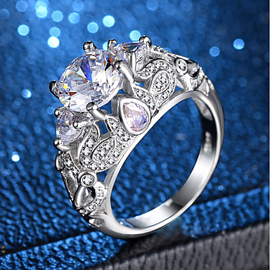 Žene Prsten Izjave Prsten Belle Ring Kubični Zirconia 1pc Srebro Kamen Platinum Plated Imitacija dijamanta Četiri drška dame Jedinstven dizajn Romantični Vjenčanje Dar Jewelry Latica Flower Shape
