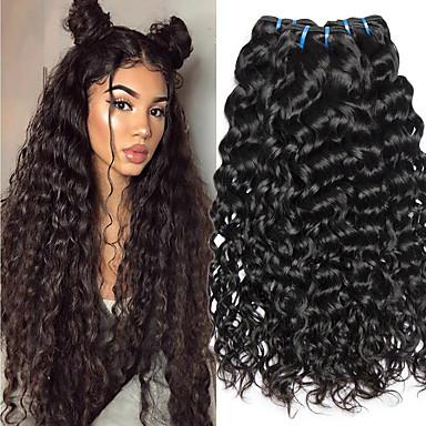 3 paketa Indijska kosa Water Wave Ljudska kosa Netretirana  ljudske kose Ljudske kose plete Styling kose Produžetak 8-28 inch Prirodna boja Isprepliće ljudske kose Život Party Gust Proširenja ljudske