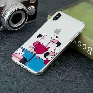 Недорогие Кейсы для iPhone X-Кейс для Назначение Apple iPhone XS / iPhone XR / iPhone XS Max Прозрачный / С узором Кейс на заднюю панель Фламинго / Животное Мягкий ТПУ