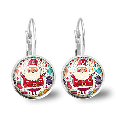 Žene Kristal Retro Klipse Naušnica - Kostimi Djeda Mraza Božićno drvce dame Crtići Moda Jewelry Pink Za Božić Dar 1 par