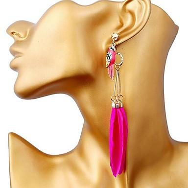 Žene Viseće naušnice 3D Parrot dame Stilski Klasik Perje Naušnice Jewelry Dark Blue / Fuksija Za Dnevno 1 par