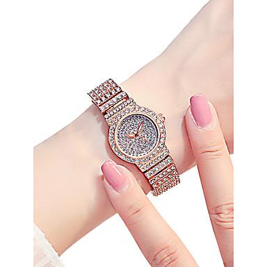 Žene Ručni satovi s mehanizmom za navijanje Diamond Watch Kvarc Srebro / Zlatna / Rose Gold 30 m Vodootpornost New Design Analog dame Luksuz Svjetlucavo - Pink Zlatna Rose Gold