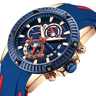 رخيصةأون ساعات الرجال-MINI FOCUS رجالي ساعة رياضية مراقبة الطيران كوارتز سيليكون أسود 30 m ساعة التوقف ساعة كاجوال كوول مماثل كاجوال موضة - أزرق / أسود أحمر أزرق سنة واحدة عمر البطارية / طرد كبير