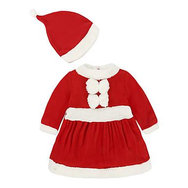 رخيصةأون ملابس الرضع-قطع واحدة كم طويل لون سادة / عيد الميلاد بابا نويل رياضي Active / أساسي للفتيات طفل