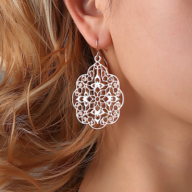 Žene Viseće naušnice filigran Cvijet dame Etnikai Elegantno Naušnice Jewelry Crn / Pink / Rose Gold Za Svečanost Formalan 1 par