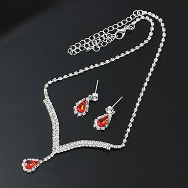 Žene Kubični Zirconia Okrugle naušnice Ogrlice s privjeskom Svadbeni nakit Setovi Teniski lanac Kruška dame Romantični Elegantno Umjetno drago kamenje Imitacija dijamanta Naušnice Jewelry Crvena