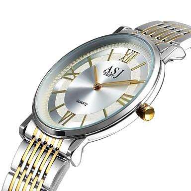 Недорогие Часы на металлическом ремешке-ASJ Муж. Нарядные часы Японский кварц Классика Повседневные часы Аналоговый Золото / Белый Серебряный / Один год / Нержавеющая сталь / Крупный циферблат / SSUO AG4