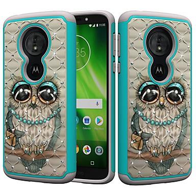 Недорогие Чехлы и кейсы для Motorola-Кейс для Назначение Motorola MOTO G6 / Moto G6 Play / Moto E5 Play Защита от удара / Стразы / С узором Кейс на заднюю панель Сова / Стразы Твердый ПК