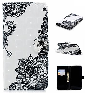 Недорогие Кейсы для iPhone 7 Plus-Кейс для Назначение Apple iPhone XS / iPhone XR / iPhone XS Max Кошелек / Бумажник для карт / со стендом Чехол Мультипликация / Кружева Печать / Цветы Твердый Кожа PU