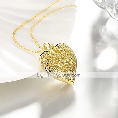 Žene Ogrlice s privjeskom Srce Šuplje srce dame slatko Moda Kamen Pozlaćeni Zlato 50 cm Ogrlice Jewelry 1pc Za Dnevno Rad