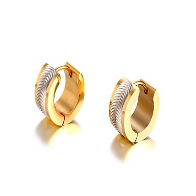 Muškarci Zlato Naušnica Klasičan Moda Titanium Steel Naušnice Jewelry Zlato / Pink Za Vjenčanje Dar Dnevno Maškare Zaručnička zabava Prom 1 par