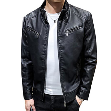 cheap Men's Outerwear-Men's Daily Fall & Winter Regular Leather Jacket, Solid Colored Stand Long Sleeve PU Black / Yellow / Wine