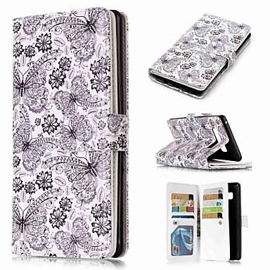 Недорогие Чехлы и кейсы для Galaxy Note-Кейс для Назначение SSamsung Galaxy Note 9 / Note 8 / Note 5 Кошелек / Бумажник для карт / со стендом Чехол Бабочка Твердый Кожа PU