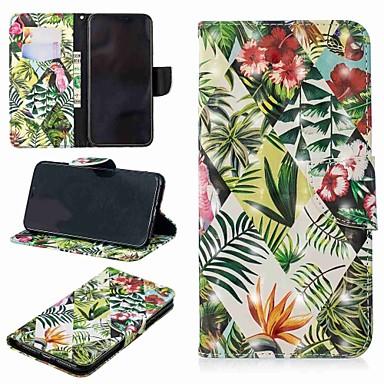 Недорогие Кейсы для iPhone X-Кейс для Назначение Apple iPhone XS / iPhone XR / iPhone XS Max Кошелек / Бумажник для карт / со стендом Чехол Растения / дерево Твердый Кожа PU