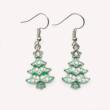 Žene Viseće naušnice 3D Božićno drvce dame Jednostavan Naušnice Jewelry Pink Za Božić 1 par