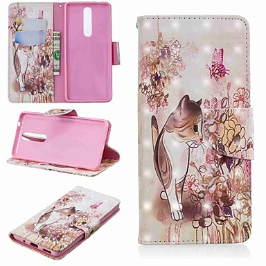 Недорогие Чехлы и кейсы для Nokia-Кейс для Назначение Nokia Nokia 5.1 / Nokia 3.1 / Nokia 2.1 Кошелек / Бумажник для карт / со стендом Чехол Кот Твердый Кожа PU