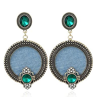 Žene Zelen Kristal Viseće naušnice Retro dame Vintage Europska Austrijski kristal Naušnice Jewelry Bronza Za Ulica 1 par