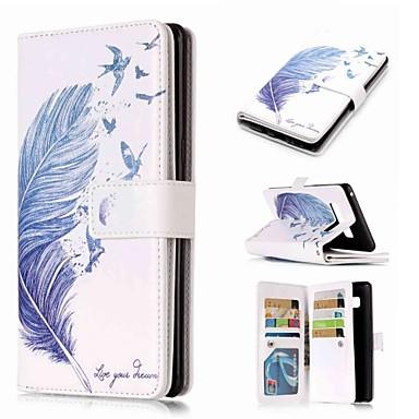 Недорогие Чехлы и кейсы для Galaxy Note-Кейс для Назначение SSamsung Galaxy Note 9 / Note 8 / Note 5 Кошелек / Бумажник для карт / со стендом Чехол Перья Твердый Кожа PU
