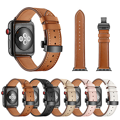 cheap Apple Watch Bands-Watch Band for Apple Watch Series 5/4/3/2/1 Apple Butterfly Buckle Genuine Leather Wrist Strap iwatch band for 38mm 40mm 42mm 44mm