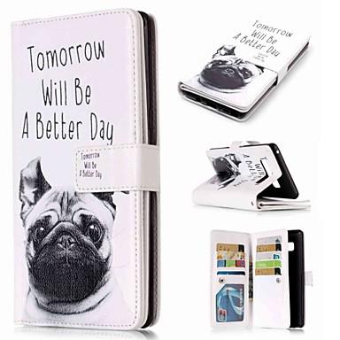 Недорогие Чехлы и кейсы для Galaxy Note-Кейс для Назначение SSamsung Galaxy Note 9 / Note 8 / Note 5 Кошелек / Бумажник для карт / со стендом Чехол С собакой Твердый Кожа PU