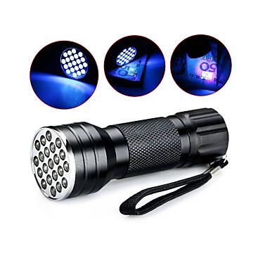 olcso Black Light Flashlights-D12UV-1-0-2 LED zseblámpák UV fényes elemlámpák Kézi elemlámpák Vízálló LED 5 mm lámpa 21 Sugárzók 1 világítás mód Vízálló Az ultraibolya fény Kempingezés / Túrázás / Barlangászat Mindennapokra