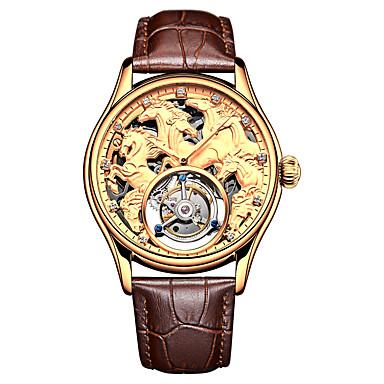 AngelaBOS Heren Skeleton horloge mechanische horloges Handmatig opwindmechanisme Echt leer Zwart / Bruin 50 m Waterbestendig Hol Gegraveerd Vrijetijdshorloge Analoog Luxe Modieus - Goud Zilver Goud
