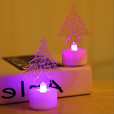 HKV 2pcs božićno drvce Plamene svijeće RGB Gumb Baterija pogonjena Crtani film / Slatko / Jednostavno za nošenje Baterija