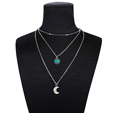 74a7e8ce6 [$2.99] Women's Retro Layered Necklace wrap necklace Sun Moon Crescent Moon  Ladies Romantic Fashion Silver 47+5 cm Necklace Jewelry 1pc For Daily ...