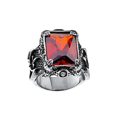 Muškarci Band Ring Pečatni prsten Ruby 1pc Crvena Plava Titanium Steel Kubni Rustic / Lodge Jednostavan Punk Party Svečanost Jewelry Retro Cool