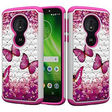 Недорогие Чехлы и кейсы для Motorola-Кейс для Назначение Motorola MOTO G6 / Moto G6 Play / Moto E5 Play Защита от удара / Стразы / С узором Кейс на заднюю панель Бабочка / Стразы Твердый ПК