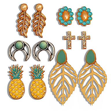 Žene Sitne naušnice Klasičan Cvijet Ananas dame Romantični Elegantno Umjetno drago kamenje Naušnice Jewelry Zlato Za Spoj Festival 6 Parovi