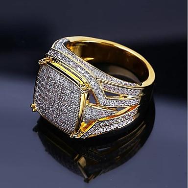 povoljno Prstenje-Muškarci Prsten Pečatni prsten Kubični Zirconia 1pc Zlato Kamen Umjetno drago kamenje Geometric Shape Stilski Luksuz Hip Hop Vjenčanje Party Jewelry Klasičan Cool