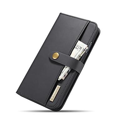 Недорогие Кейсы для iPhone-Кейс для Назначение Apple iPhone XS Max Кошелек / Бумажник для карт / со стендом Чехол Однотонный Твердый Настоящая кожа