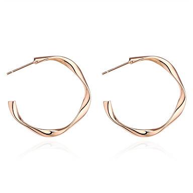 Žene Klasičan Okrugle naušnice Naušnice Twist Circle dame Stilski Jednostavan Europska Jewelry Zlato / Pink Za Kauzalni Dnevno 1 par