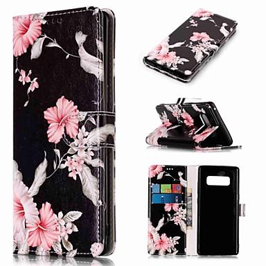 Недорогие Чехлы и кейсы для Galaxy Note-Кейс для Назначение SSamsung Galaxy Note 9 / Note 8 Кошелек / Бумажник для карт / со стендом Чехол Цветы Твердый Кожа PU