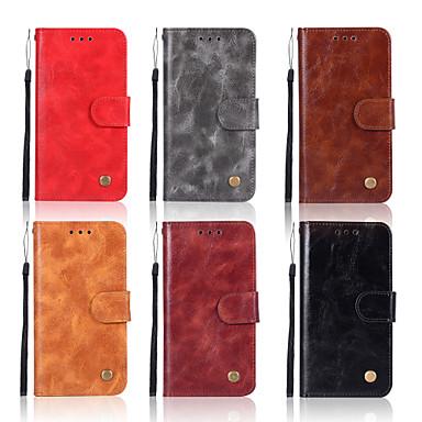 Недорогие Чехлы и кейсы для Nokia-Кейс для Назначение Nokia 8 Sirocco / Nokia 7 Plus / Nokia 6 2018 Кошелек / Бумажник для карт / со стендом Чехол Однотонный Твердый Кожа PU