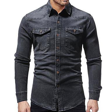 Majica Muškarci - Osnovni Dnevno Jednobojni Plava / Dugih rukava