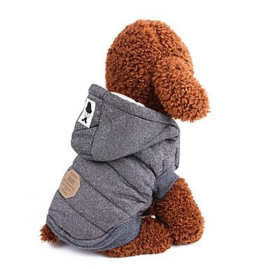 رخيصةأون ملابس وإكسسوارات الكلاب-كلاب المعاطف هوديس الشتاء ملابس الكلاب أزرق رمادي كوستيوم قطن لون سادة كلاسيكي بريطاني الدفء S M L XL XXL