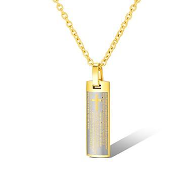 Muškarci Ogrlice s privjeskom Retro Kereszt Jedinstven dizajn Vintage vjera Titanium Steel Zlato Srebro 50 cm Ogrlice Jewelry 1pc Za Dnevno Ulica
