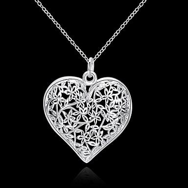 ieftine Colier la Modă-Pentru femei Coliere cu Pandativ Gol Inimă Iubire Hollow Heart femei Floral Modă #D S925 Sterling Silver Argintiu 45 cm Coliere Bijuterii 1 buc Pentru Nuntă Petrecere Zilnic Casual