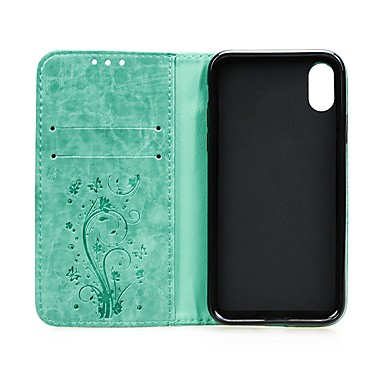 رخيصةأون أغطية أيفون-غطاء من أجل Apple iPhone XS / iPhone XR / iPhone XS Max محفظة / حامل البطاقات / مع حامل غطاء كامل للجسم قلب قاسي جلد PU