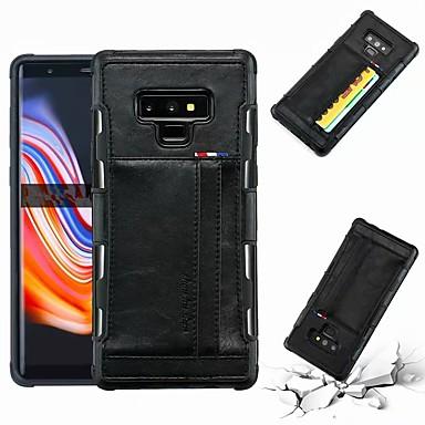 Недорогие Чехлы и кейсы для Galaxy Note-Кейс для Назначение SSamsung Galaxy Note 9 / Note 8 Бумажник для карт / Защита от удара Кейс на заднюю панель Однотонный Твердый Кожа PU