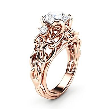 Žene Prsten Kubični Zirconia 1pc Rose Gold Kamen Pozlata od crvenog zlata Imitacija dijamanta dame Umjetnički pomodan Karneval Spoj Jewelry Nada životno stablo Lijep