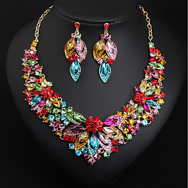 b3d12a966ac Women s Multicolor AAA Cubic Zirconia Vintage Style Jewelry Set Rhinestone  Flower Ladies
