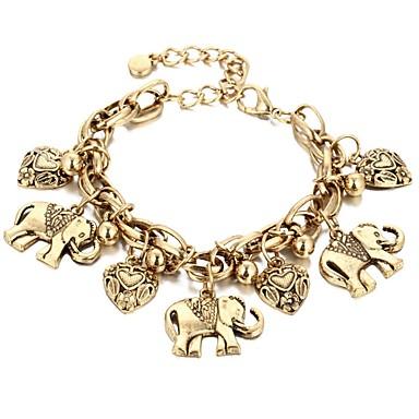 billige Armbånd-Dame Armbånd med anheng Retro Elefant Hjerte damer Bohem Legering Armbånd Smykker Gull / Sølv Til Karneval Bar