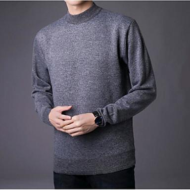 Muškarci Izlasci Jednobojni Dugih rukava Slim Regularna Pullover, Uski okrugli izrez Tamno siva / Navy Plava / Svijetlosiva L / XL / XXL